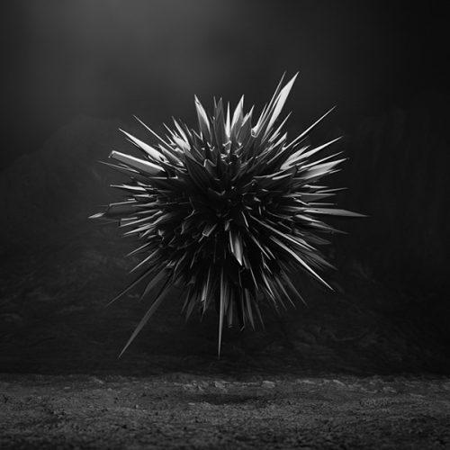 Dark Matter abstract sharp 3d CGI rendering on black background