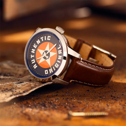 Fossil authentic watch in industrial environment mood shot