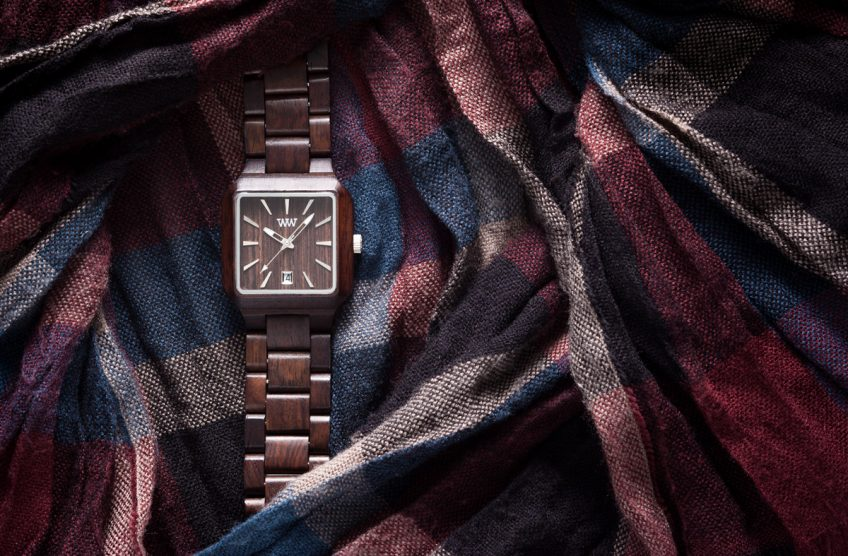 WeWood watch on cloth background product photography