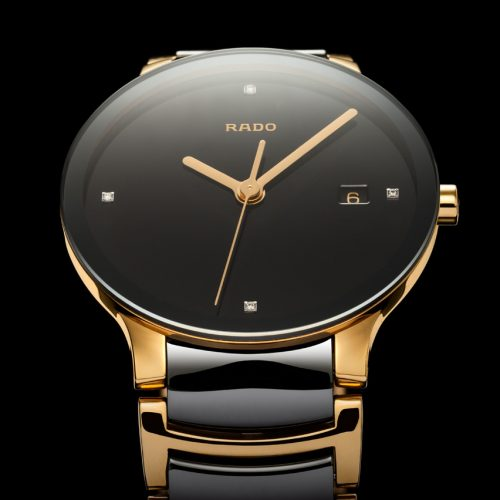 Rado Centrix Automatic Gold on black background product photography