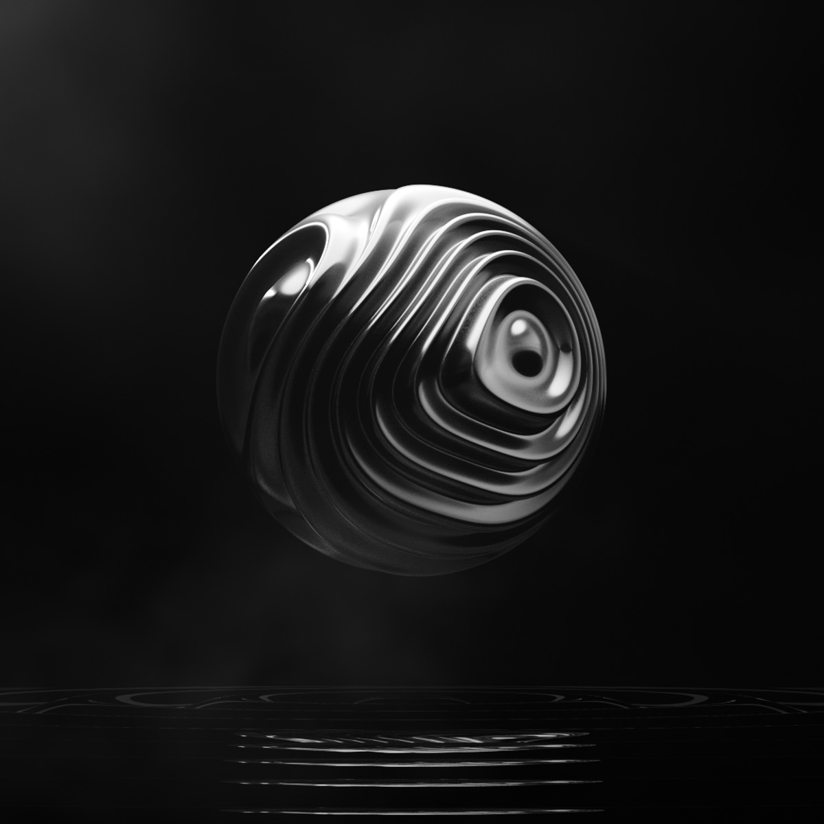 Dark Matter abstract wavy 3d CGI rendering on black background