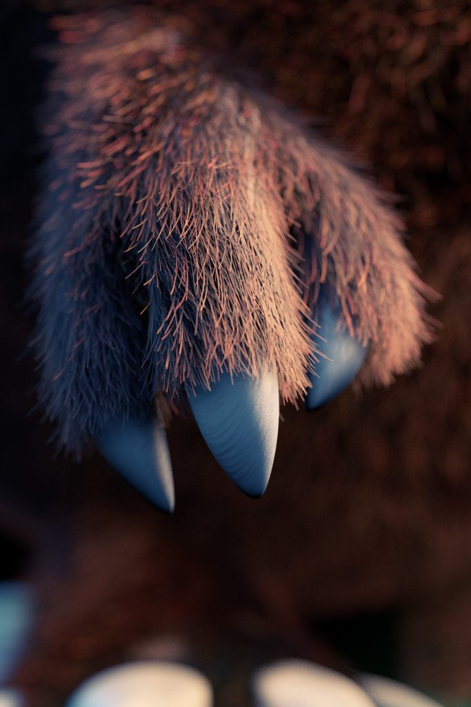 3D modelled claw with fur characterdesign